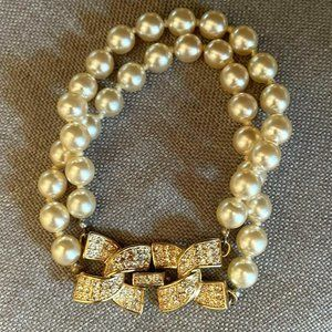 KJL Kenneth Jay Lane Double Strand X Rhinestone Clasp Pearl Bracelet